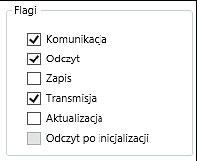 Rys. 2. Zaznaczenie równoznaczne z włączeniem flagi komunikacji w oknie dialogowym właściwości obiektu komunikacyjnego.
