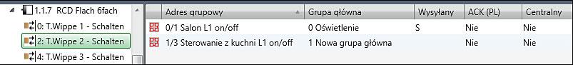Rys. 4b. Ustawienie opcji S (Sending) dla wybranej grupy adresowej.