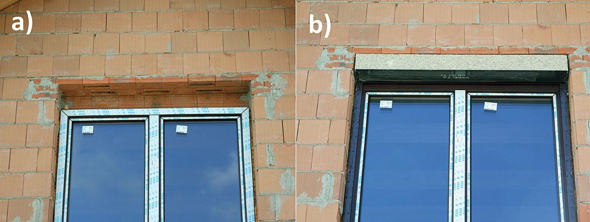 Fot. 1. Otwór okienny z a) nadprożem okiennym przygotowanym do montażu skrzynki roletowej, b) zamontowaną skrzynką roletową i prowadnicami.