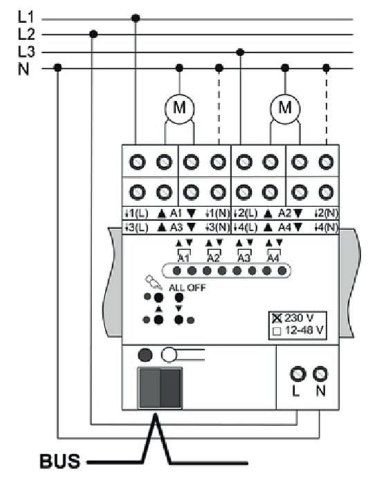 Rys. 1. Przykładowy schemat podłączenia silników roletowych do urządzenia sterującego KNX.