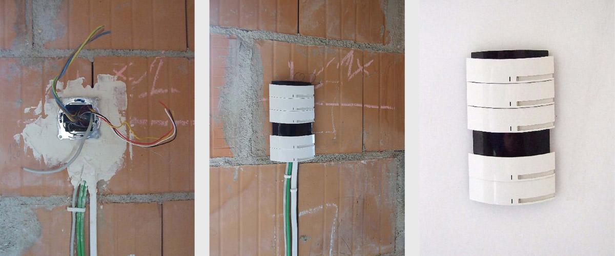 Rys. 3. a) Doprowadzenie przewodów magistralnego, zasilającego i IP do miejsca montażu przycisku KNX. b) Przycisk przykładowo zamontowany w jego docelowym miejscu w trakcie prac instalacyjnych. c) Przycisk zamontowany na wykończonej ścianie w miejscu doprowadzenia przewodów systemowych i elektrycznych.