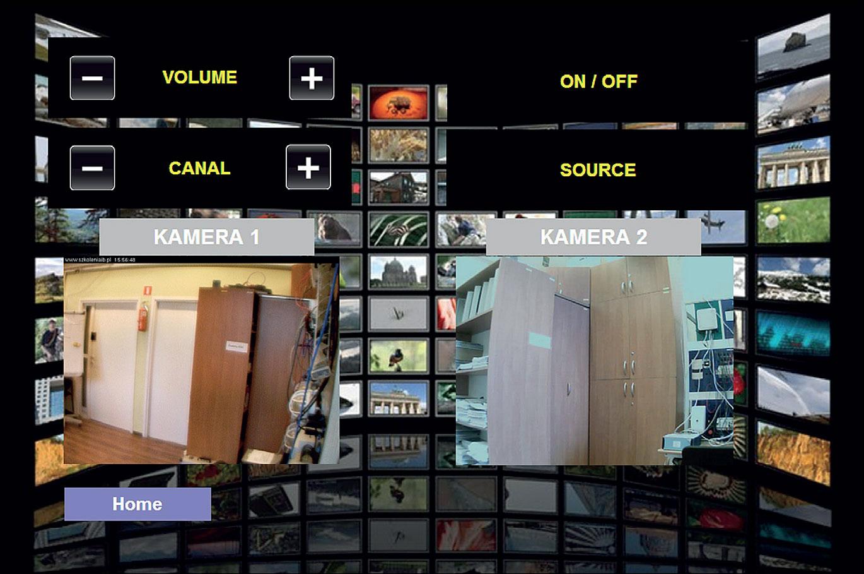 Rys. 2. Ekran wizualizacyjny z przykładowym rozmieszczeniem symboli obrazujących działanie poszczególnych funkcji w pokoju.