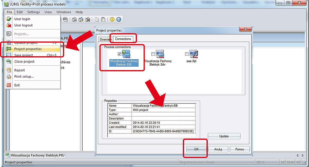 Rys. 9. Przypisywanie zmiennych komunikacyjnych wizualizowanego systemu do modelu procesu.