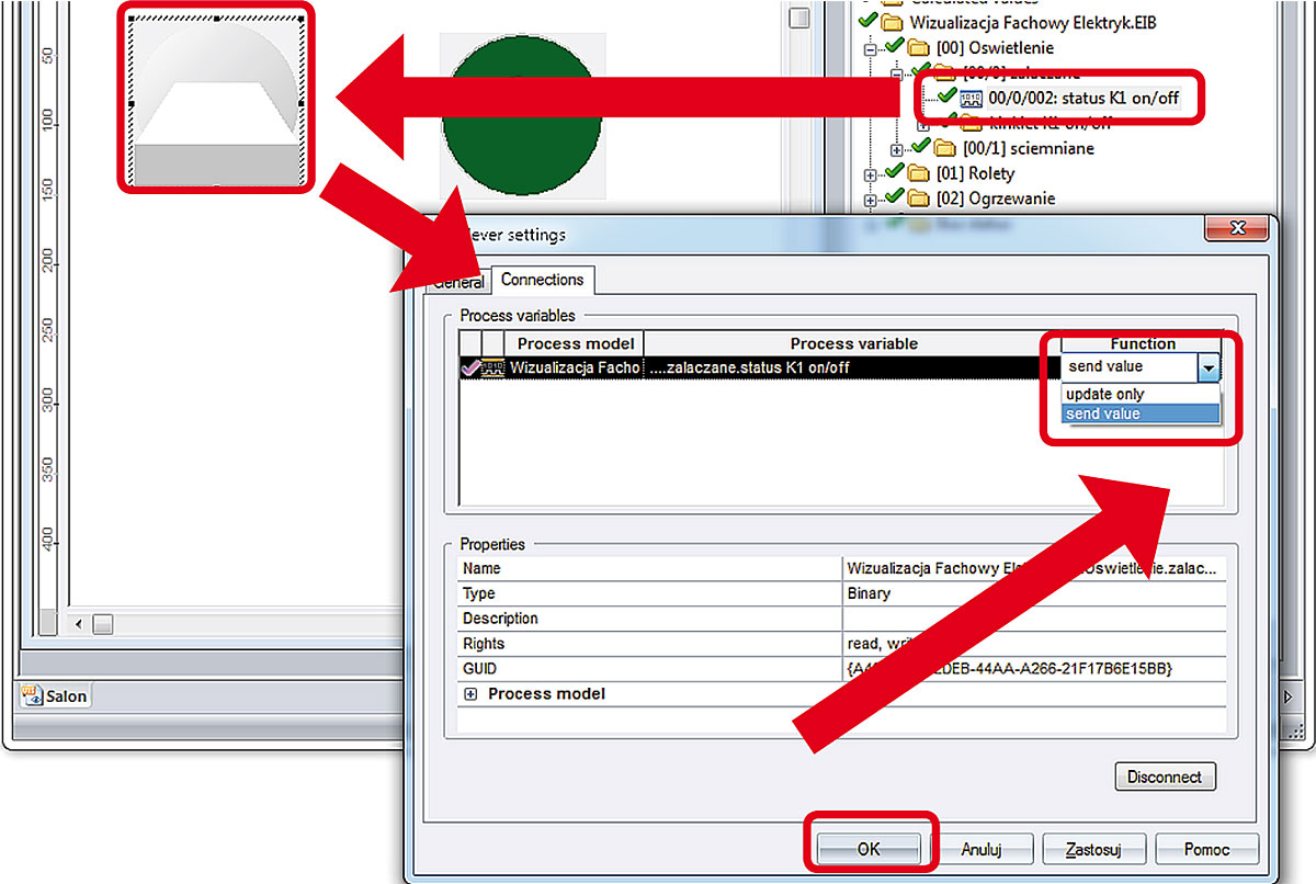 Rys. 15. Przypisywanie adresów grupowych (komunikacyjnych) do obiektów graficznych wizualizacji oraz parametryzacja właściwości obiektu.