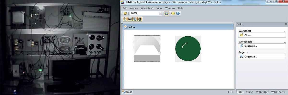 Fot. 6a. Widok stanowiska laboratoryjnego i ekran wizualizacyjny z wyłączonym oświetleniem.