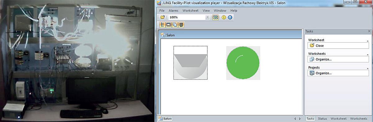 Fot. 6b. Widok stanowiska laboratoryjnego i ekran wizualizacyjny z załączonym oświetleniem.