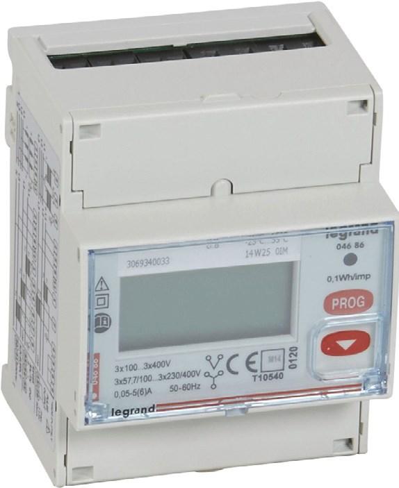 Рис.  3. Трехфазный счетчик электроэнергии EMDX3, измерение через трансформаторы тока, с выходом RS485